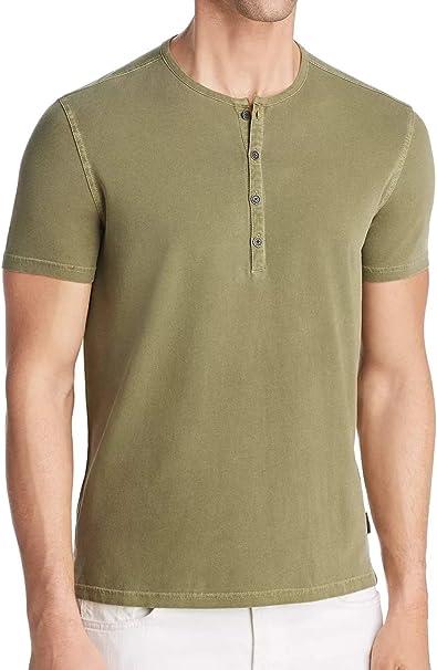 John Varvatos Star USA Men/'s Short Sleeve Burnout 4 Snap Henley Shirt Gunmetal