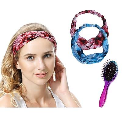 Oleh-Oleh 2pcs Boho Elastic Headbands for Women...