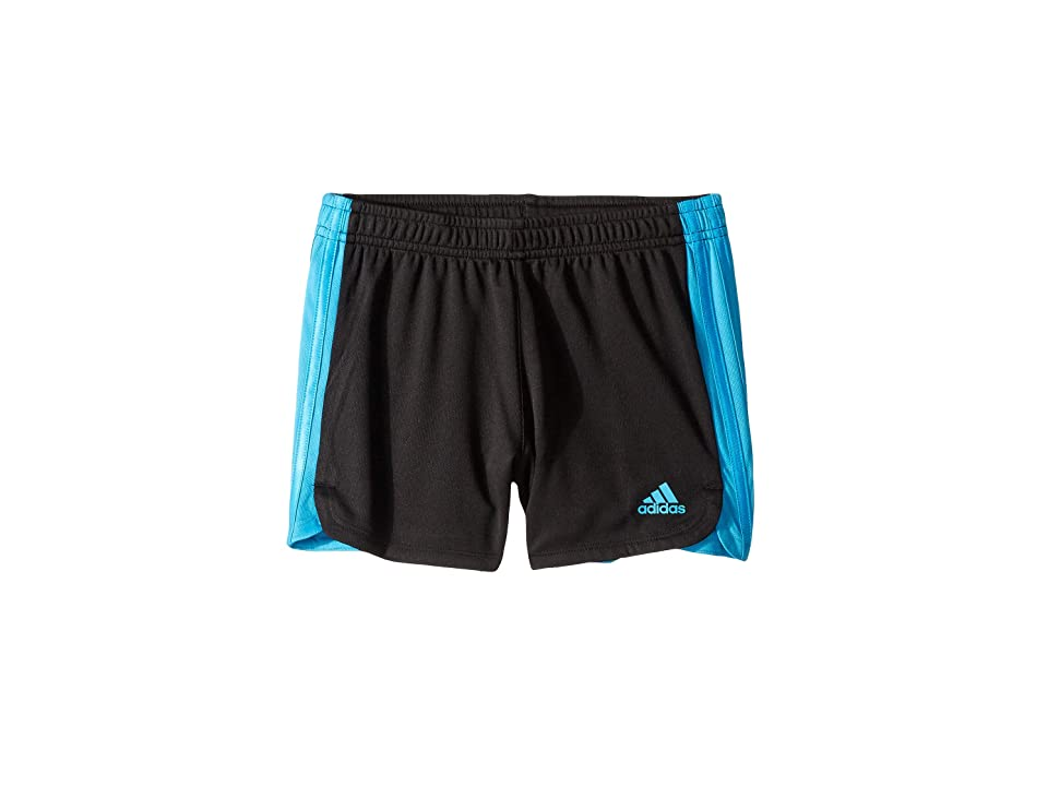 Image of adidas Kids 3 Stripe Blocked Shorts (Big Kids) (Black/Aqua) Girl's Shorts
