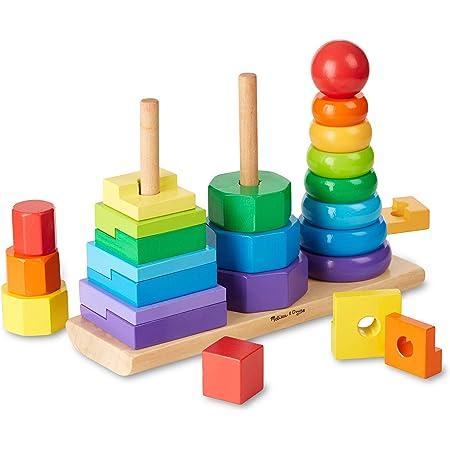 Melissa & Doug   Empileur de Formes géométrique  Jouets en bois   Pour garçon ou fille   25 pièces