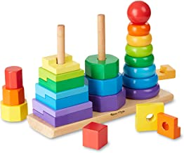 Melissa & Doug Geometric Stacker Toddler Toy (Developmental Toys, Rings, Octagons, and Rectangles, 25 Colorful Wooden Pieces, Great Gift for Girls and Boys - Best for 2, 3, and 4 Year Olds)