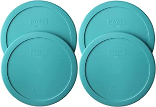 Pyrex 7402-PC Round 7 Cup Storage Lid for Glass Bowls (4, Turquoise)