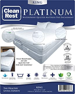 CleanRest Platinum Waterproof Quilted Mattress Pad Encasement, King, White