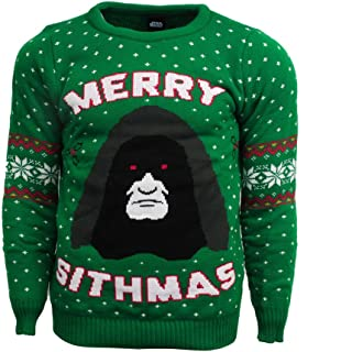 Numskull Men's Star Wars Merry Sithmas Christmas Sweater Small Green