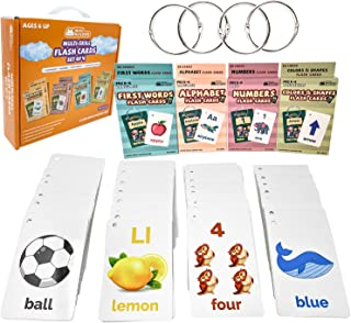 Flash Cards Toddlers Kids – 4Packs Alphabet ABC Letter Numbers Math Shapes Preschool Sight Words Flashcards Games – Baby L...
