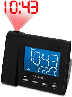 Magnasonic Projection Alarm Clock with AM/FM Radio, Battery Backup, Auto Time Set, Dual..