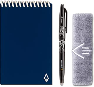 Rocketbook Everlast Smart Reusable Notebook - Dotted Grid Eco-Friendly Notebook with 1 Pilot Frixion Pen & 1 Microfiber Cloth Included - Midnight Blue Cover, Mini Size (3.5