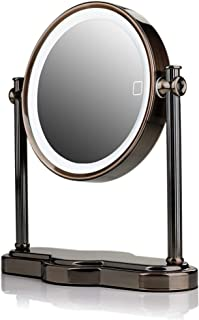 Ovente MHT80AB1X5X LED Makeup, SmartTouch 3-Tone Lighting (Daylight, Cool, Warm), Tabletop Vanity Mirror, Battery or USB A...