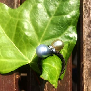 tahitian and Australian pearls, leather, sterling silver, Women ring