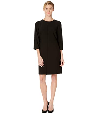 Vince Camuto Elbow Sleeve Bi-Stretch Crepe Belted Dress (Rich Black) Women