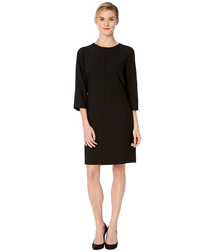Vince Camuto  Elbow Sleeve Bi-Stretch Crepe Belted Dress (Rich Black) Womens Dress