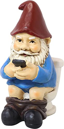new arrival Sunnydaze Cody The Garden Gnome on The discount online Throne Reading Phone, Funny Lawn Decoration, 9.5 Inch Tall sale