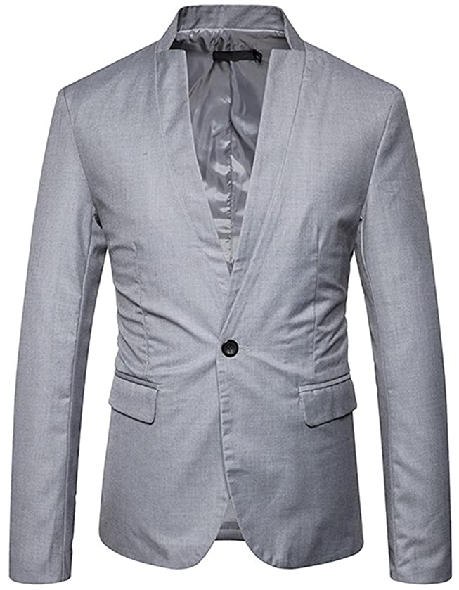 JASSYOY Men's Slim Fit Stand Collar Center Vent Blazer Coats Jackets