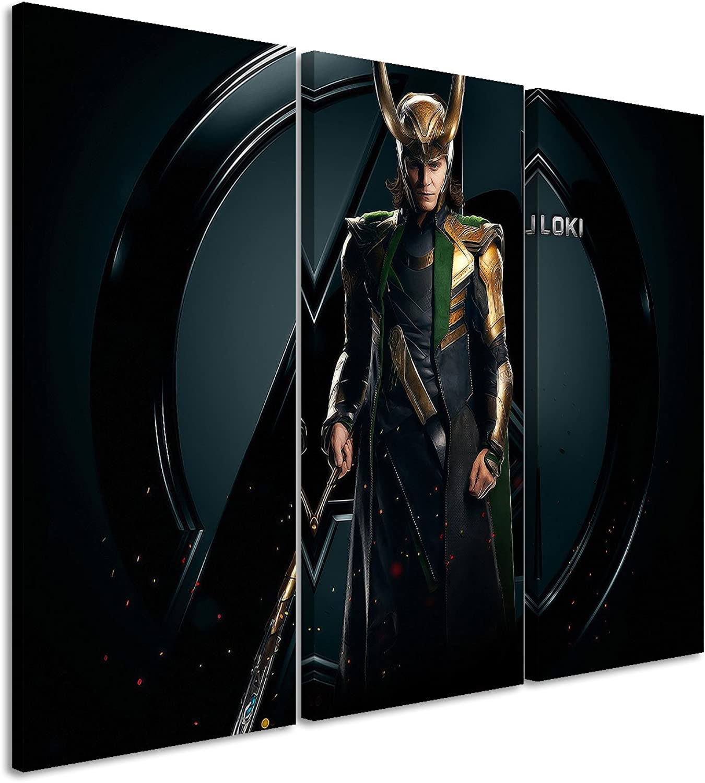 Leinwandbild 3 teilig The_Avengers_Loki_3x90x40cm (Gesamt (Gesamt (Gesamt 120x90cm) _Ausführung schöner Kunstdruck auf echter Leinwand als Wandbild auf Keilrahmen B00S3XKW86 b6ff4c