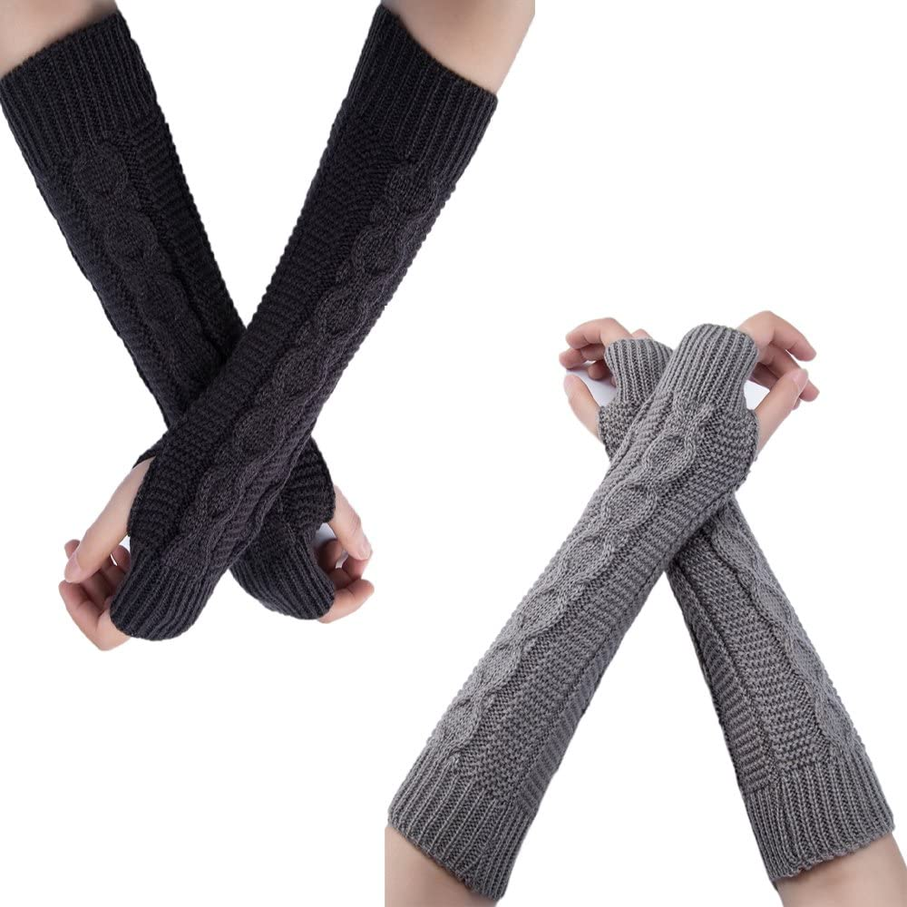 Flyou 2Pairs Womens Winter Knit Long NEW before selling Miami Mall Fingerless Thumbhole Gloves