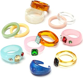 EIELO 12Pcs Retro Vintage Resin Acrylic Rings for Women Colorful Chunky Plastic Resin Wood Ring Set Fashion Vintage Jewelry