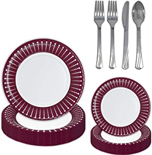 "Fancy Burgundy Disposable Dinnerware - 36 Sets - Large Plates (10""), Small Plates (7""), Shiny Silverware (Spoon, Knife, 2 ..."