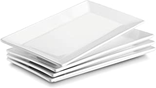 DOWAN 9.7 Inches Porcelain Serving Platters, Side Plates, Set of 4, White