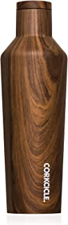 Corkcicle Canteen Classic Collection - Water Bottle & Thermos - Triple Insulated Shatterproof Stainless Steel, Walnut Wood, 16 oz