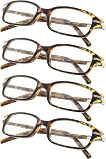 4-Pack Fashion Spring Temple Reading Glasses for Men and Women Include Sunshine Readers