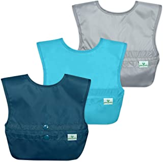 green sprouts Snap & Go Easy-wear Bibs (3 pk) | Comfortable, waterproof protection for messy eaters | Neatly roll up for mess & utensil storage, Flipped pocket easily catch spills, Easy clean