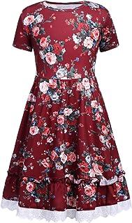 Balasha Girls Sleeveless A-line Solid Color Ruffle Pleated Casual Dress