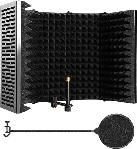 Bouclier d'isolation de Microphone Pliable 59 * 11.5cm, 5 Portes Ecran Acoustique pour Microphone avec Filtre Anti-po...