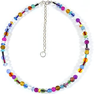 Style ARThouse Colorful Medley Czech Lampwork Glass Choker Necklace, 15 Inches Adjustable