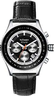 InTimes Speeders Steel Quartz Chronograph Analog Watch for Men with Leather Strap