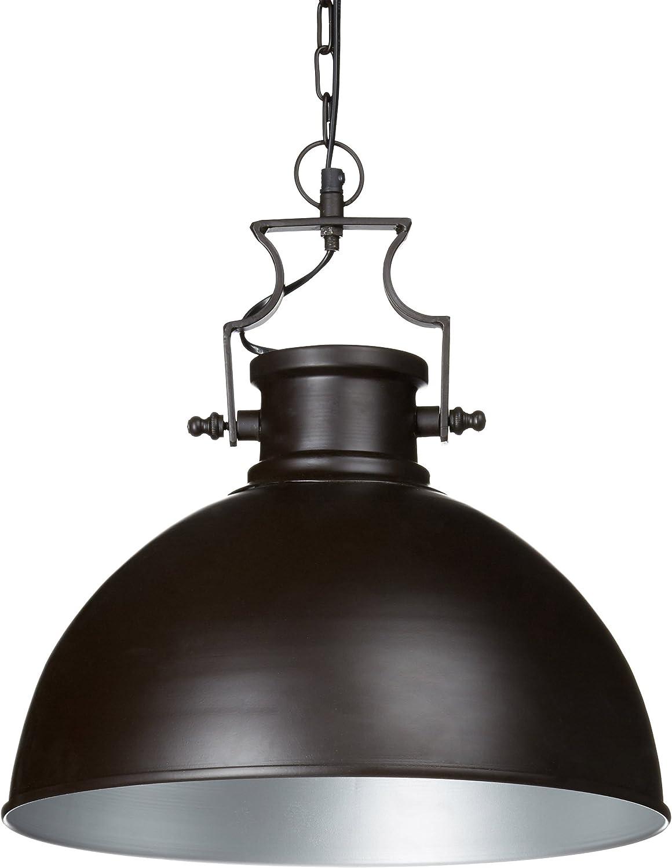 Relaxdays Lampe à suspension luminaire style industriel HxlxP 145 x 40,5 x 40,5 cm abat-jour forme de cloche et chaîne en métal E27 plafonnier, bcourir marron foncé
