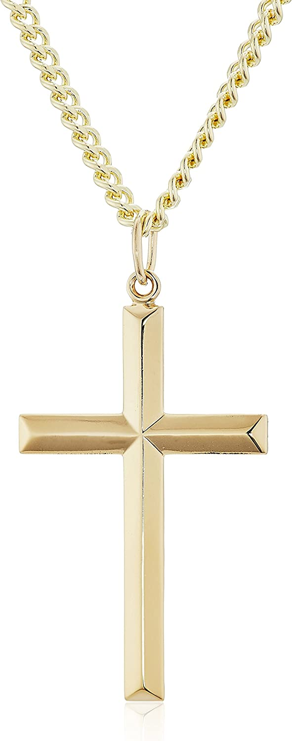 Men's 14k Gold Filled Solid Beveled Edge Embossed Cross with Gold Plated Stainless Steel Chain Pendant Necklace, 24