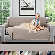Sofa Shield Original Patent Pending Reversible Small Sofa Slipcover, 2 Inch Strap Hook, Seat Width Up to 62 Inch Washable Furniture Protector, Couch Slip Cover for Pets, Small Sofa, Lt Taupe Lt Taupe