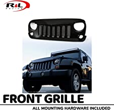 R&L Racing Glossy Black Angry Bird Vertical Mesh Front Grill Hood Bumper Grille 2007-2018 for Jeep Wrangler JK