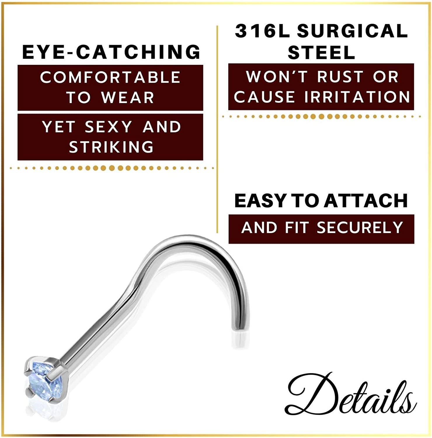 MATIGA 2Pcs Anodized & Surgical Steel 20 Gauge 9/32 7mm Nose Ring Studs Screw Piercing Jewelry 1.5mm Round CZ Crystal More Choices