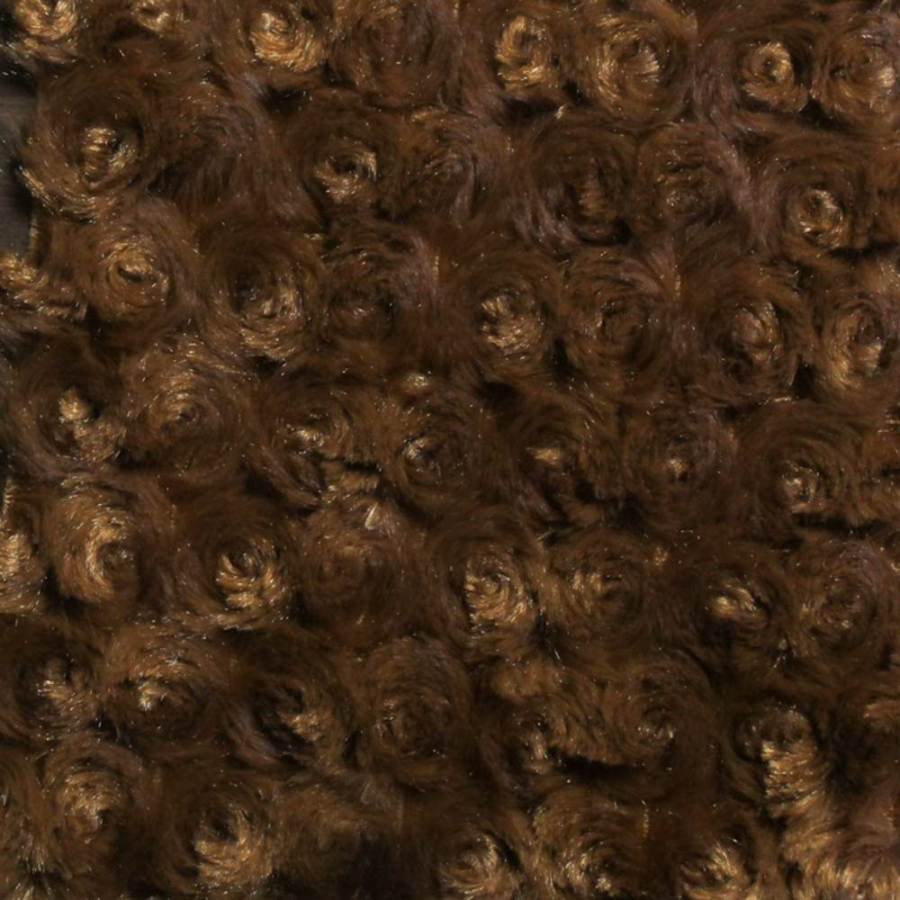 """Brown Minky Rosebud Fabric, 60"""" Inches Wide – Sold by"""