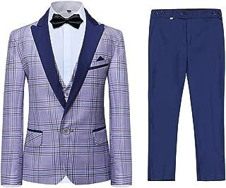Boys 3 Pieces Tuxedo Suit Set Plaid Slim Fit Blue Peak Lapel Jacket Tux Vest Blue Pants Party Wedding