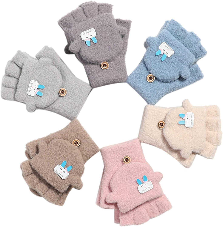 Unisex Warm Soft Winter Knit Gloves for Kids Boys Girls Glove with Dog Mittens