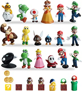 HXDZFX 32 PCS Super Mario Action Figures,Super Mario Bros Figurines Peach Princess,Daisy Princess,Turtle,Mushroom,Orangutan,Coin,Brick,Perfect for Onaments Decoration collectionism