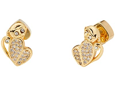 Kate Spade New York Mom Knows Best Pave Monkey Studs Earrings (Clear/Gold) Earring
