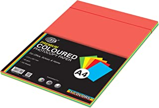 FIS Premium Color Photocopy Paper, 100 Sheets, 80 gsm, 5 Assorted Premium Colors, A4 Size - FSPWA4P5C100