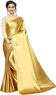 PERFECTBLUE Women's Satin Saree with Unstitched Blouse Piece (Roundsatin)