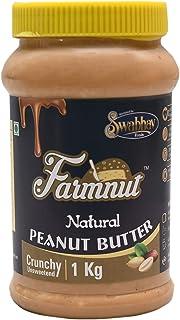 FARMNUT NATURAL PEANUT BUTTER (Crunchy) -1 kg, Made with 100% Roasted Peanuts, Zero Cholesterol & Transfat, Zero Sugar, Hi...