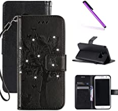 Galaxy S6 Case, LEECOCO Embossed Floral 3D Bling Crystal Diamonds Butterfly with Card Slots Magnetic Flip Stand PU Leather Wallet Case for Samsung Galaxy S6 Wishing Tree Black