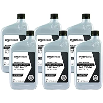AmazonBasics High Mileage Motor Oil - Full Synthetic - 5W-20 - 1 Quart - 6 Pack