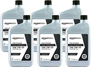 AmazonBasics High Mileage Motor Oil, Full Synthetic, SN Plus, 5W-20, 1 Quart, 6 Pack