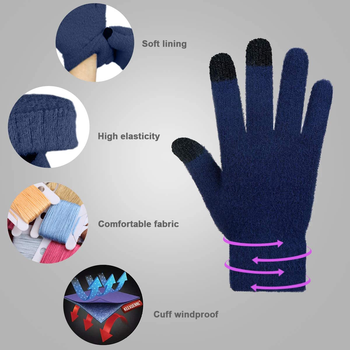 Achiou Winter Touchscreen Gloves Knit Warm Thick Thermal Soft Comfortable Wool Lining Elastic Cuff Texting for Women Men