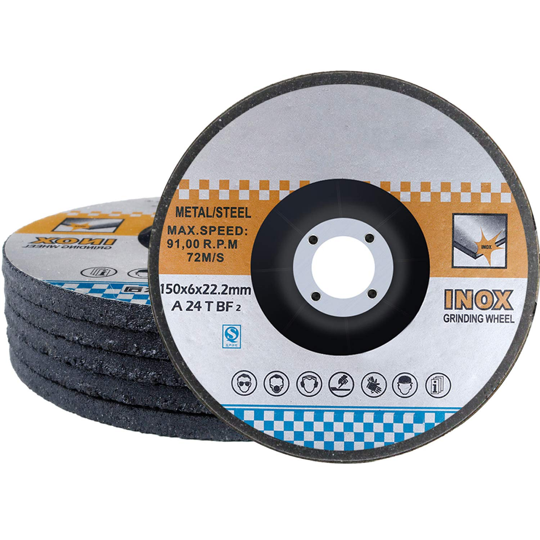 5-Pack 4-1//2x1//4x7//8 Metal Stainless Steel INOX Grinding Disc Depressed Center Grind Wheel