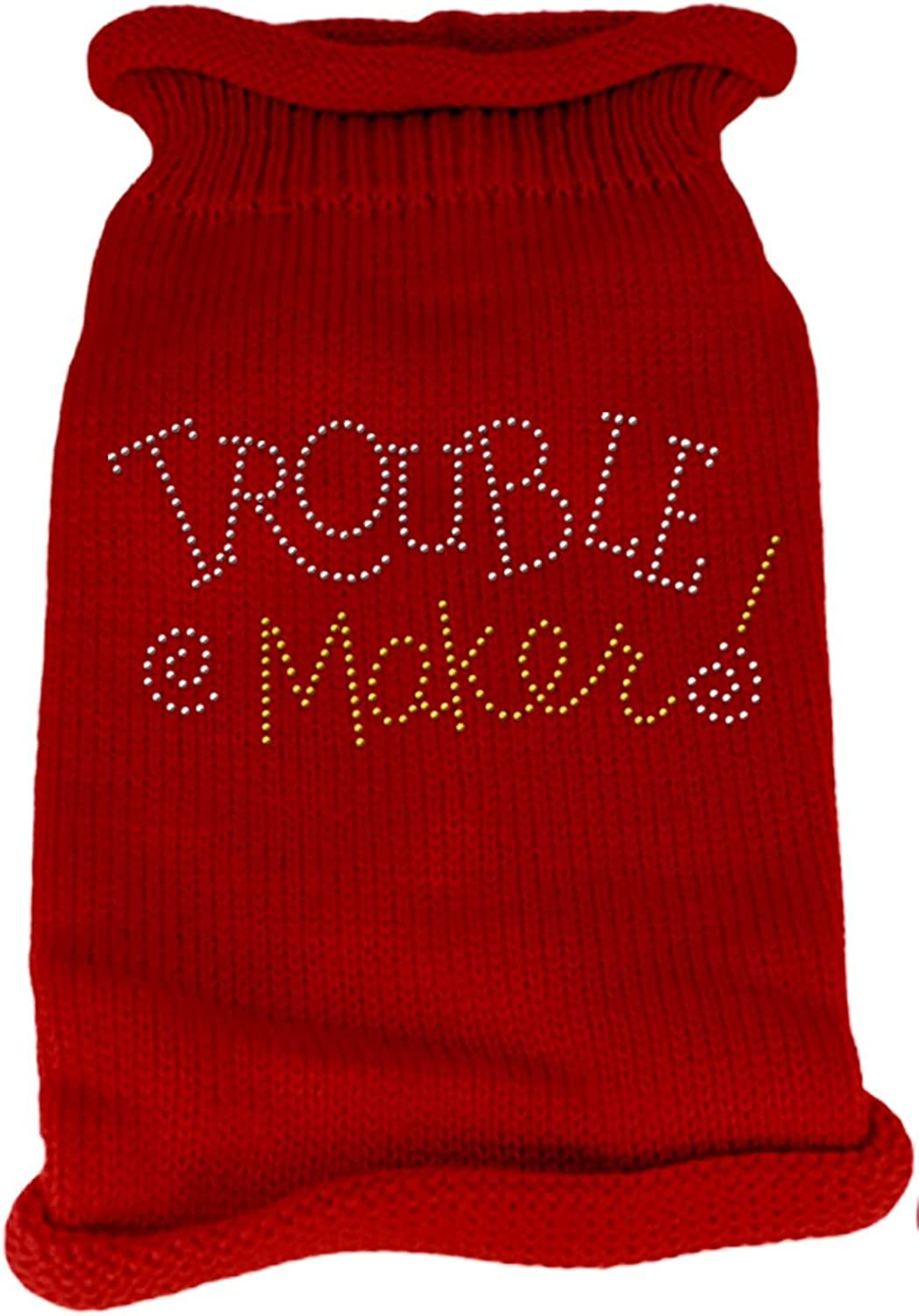 Mirage Pet Products Trouble Maker Rhinestone Knit Pet Sweater, XLarge, Red