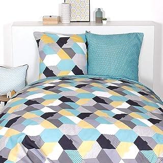 Côté Déco Kit - Parure de lit géométrique 240x220 cm : 1 Housse de Couette 240x220 cm + 2 taies d'oreiller 65x65 cm