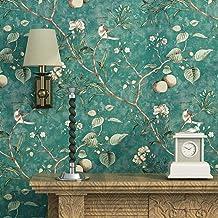 Blooming pared Vintage Flores Árboles Pájaros papel pintado para salón dormitorio cocina, 57cuadrado ft., esmeralda verde